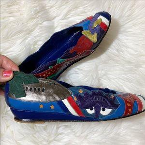 Beverly Feldman Travel blue leather wedges size 6